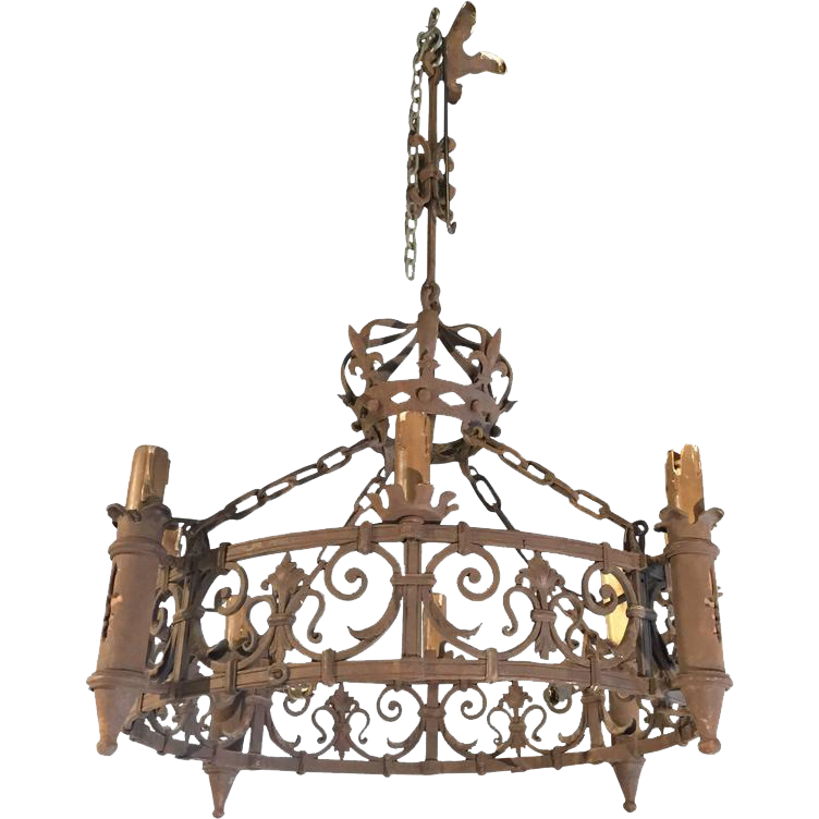 An Antique French Forged Iron Chandelier with Fleur de Lys Motifs