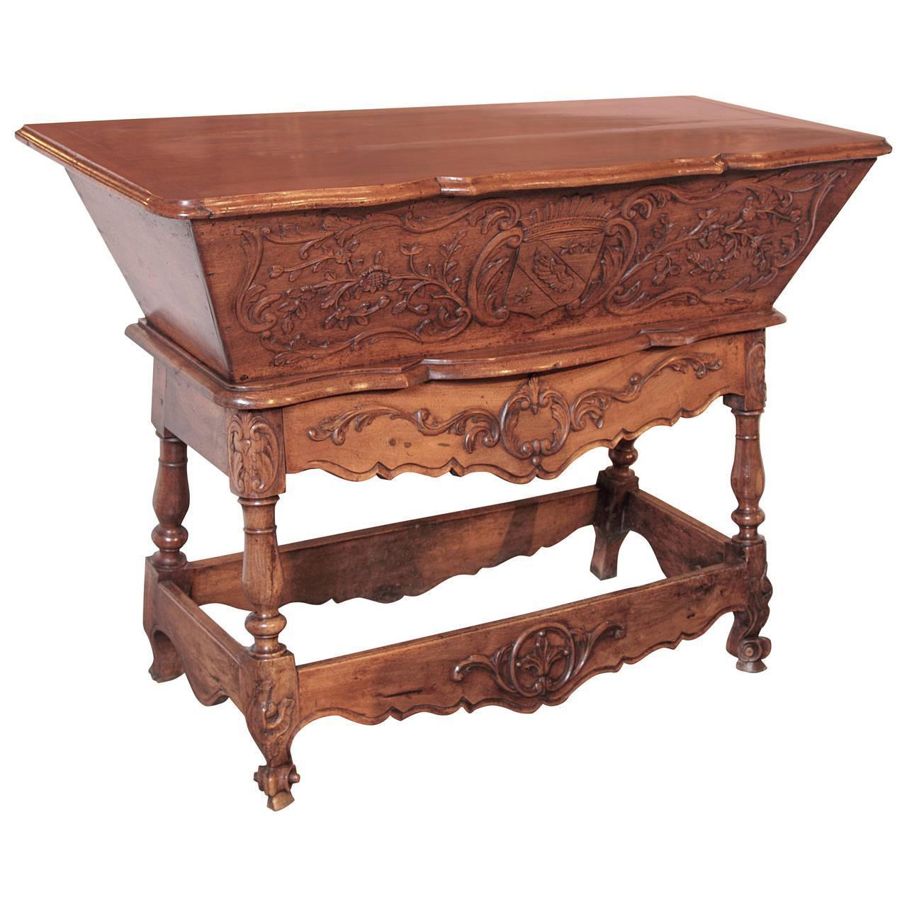 Antique Walnut Wood Petrin from France, 19th Century