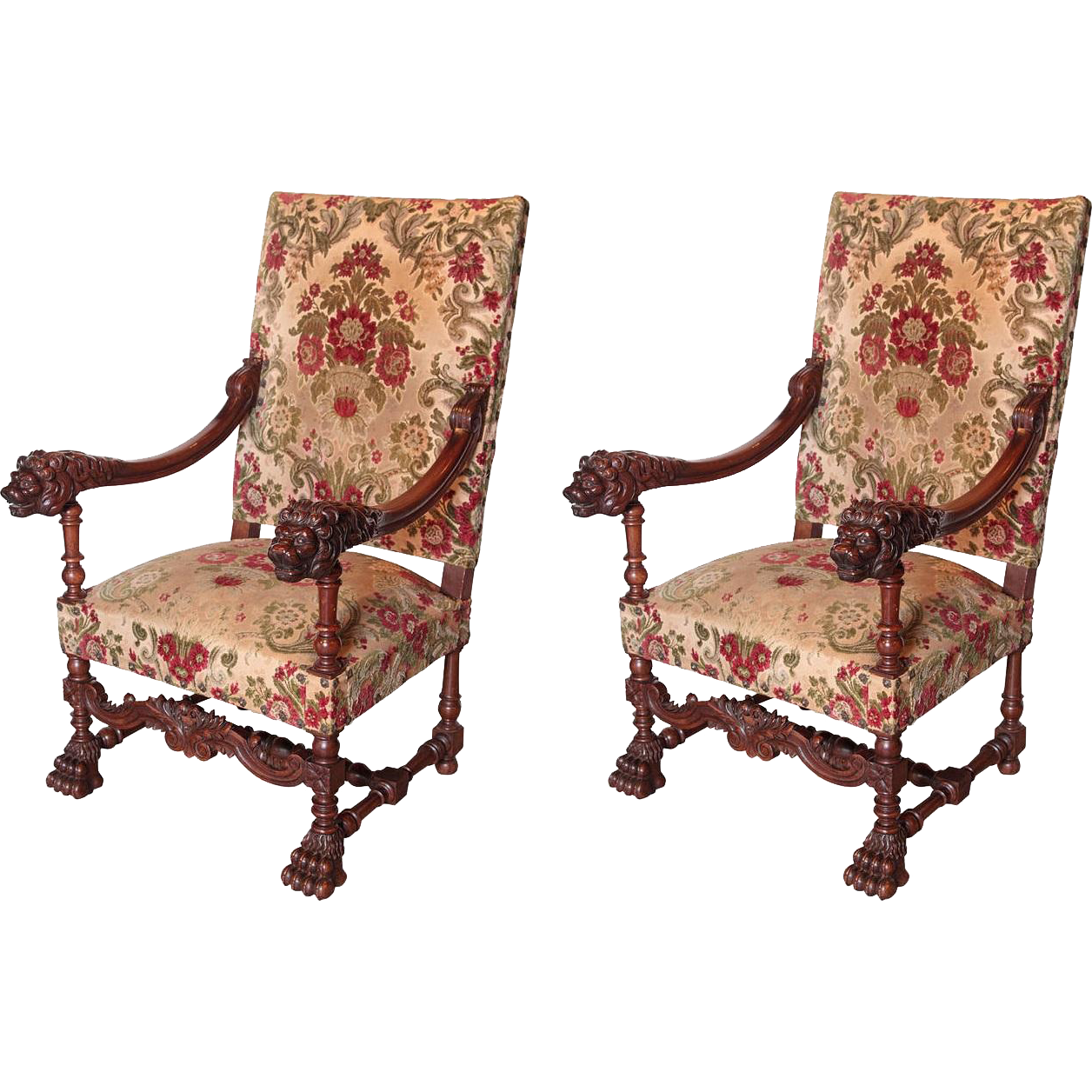 Pair of Antique Louis XIV Style Walnut Wood Armchairs from France