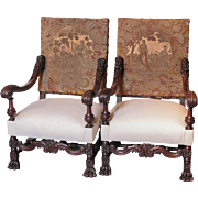 Pair of Antique Louis XIV Style Walnut Wood Armchairs with Lion's Paw Feet