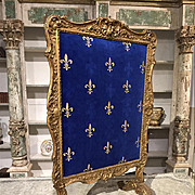Sculpted Antique Wooden Firescreen from France with Fleur De Lys Velvet