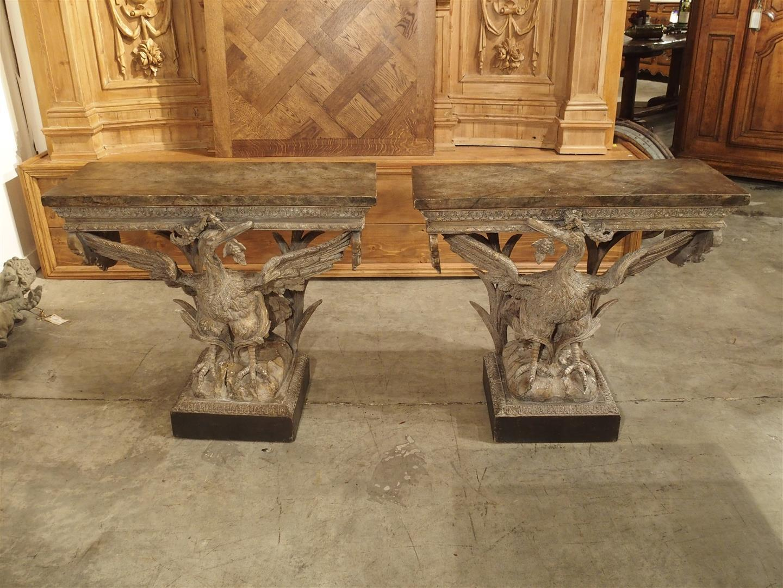 Fantastic Pair of Late 19th Century English Crane Consoles
