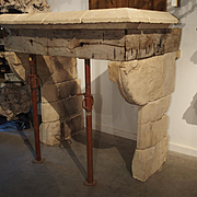 Rare 13th Century Limestone and Oak Fireplace from France