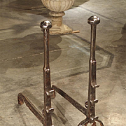 A Pair of Antique French Andirons, Forged in 17th Century