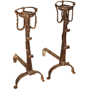 A Pair of Forged 17th Century Kitchen Fireplace Andirons from France