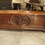 19th Century Walnut Wood Renaissance Trunk from France