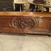 19th Century Walnut Wood Renaissance Trunk from France