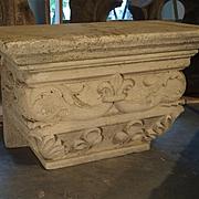 Antique Beige Limestone Statue Pedestal from France, Savonnières-en-Perthois, 19th Century