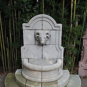 Carved Limestone Rams Head Wall Fountain from France