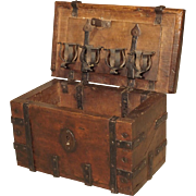 A 17th Century Walnut and Iron Table Trunk from France