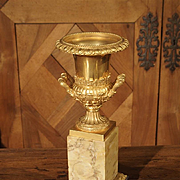 Antique Mercury Gilded Bronze Medici Vase on Toscana Marble Base