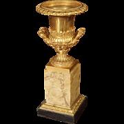Antique Mercury Gilded Bronze Medici Vase on Toscana Marble Base