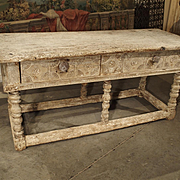 17th Century Whitewashed Table from Southwest France or Spain