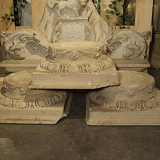 Set of Three Carved Stone Capitals from France, Near Beauvais, Early 1800s