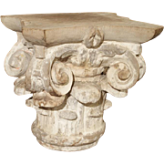 18th Century Parcel Paint Column Capital from France