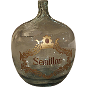 Large Hand Blown Semillon Demijohn Bottle from France