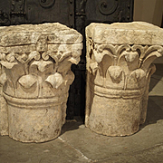 Antique Stone Pilaster Capitals from Lyon, France, Circa 1800