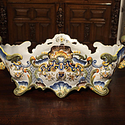 Antique Faience Jardiniere, Granville France, Early 1900s