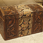 Antique French Carved Black Forest Trunk with Needlepoint, Circa 1900