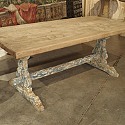 Antique French Oak Dining Table with Parcel Paint Legs