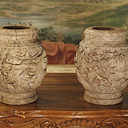 Pair of Chinese Carved Wooden Pots, Mid 1900s