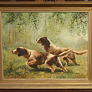 French Oil Painting by Jean Molinier, Hunting Dogs, 1900's