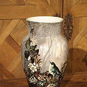 Antique Bourg-La-Reine Barbotine Vase, France Circa 1850