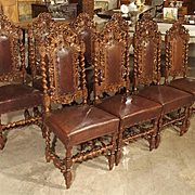 Set of 9 Antique Walnut and Leather Dining Chairs from France, Circa 1880