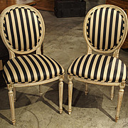 Pair of Parcel Painted Antique Louis XVI Style Side Chairs