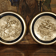 A Pair of Classical Antique Silverplate Plaques, 19th Century