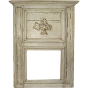 Antique French Painted Trumeau Mirror from an 1860's French Boiserie
