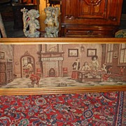 A Framed French Machine Made Tapestry of an Interior Scene