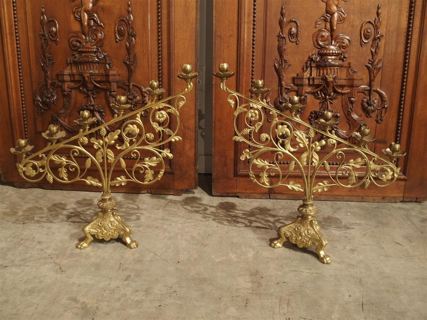 Pair of Antique French Gilt Bronze Altar Candelabras