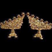 Pair of Antique French Gilt Bronze Altar Candelabras