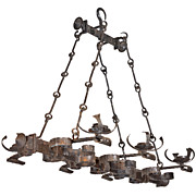 Antique French, Hand Forged, Six Light Iron Chandelier