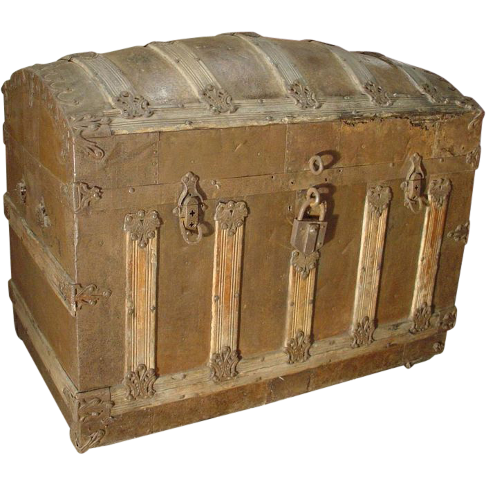 Circa 1900 Wood and Iron Trunk from France