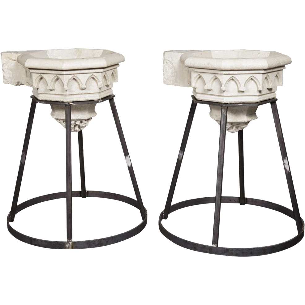 Pair of Antique Carved Stone Sinks (Stoups or Benitiers) from France, circa 1830