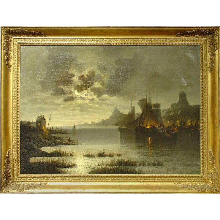 19th Century Harbor Scene Painting from France-Oil on Canvas