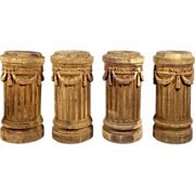 A Set of Four Antique Oak Column Pedestals from France