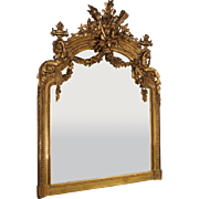 Antique Giltwood Louis XVI Style Mirror from France, Circa 1870