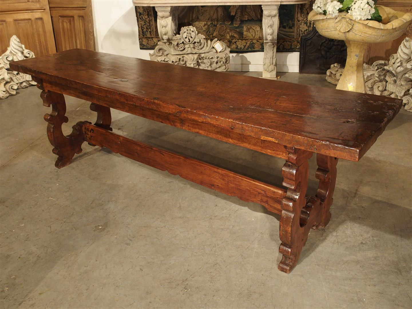 Antique Walnut Wood Console Table from Italy, 1600s