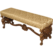 Carved Antique Walnut Wood Renaissance Style Bench from Italy, 19th Century
