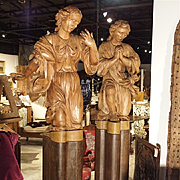 Magnificent Pair of Antique Carved Pine Angels on Iron Bases, Circa 1710