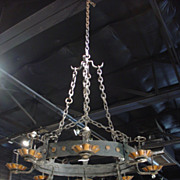 1900s Oval Iron Chandelier from France