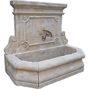 A Large Carved Stone Wall Fountain from France