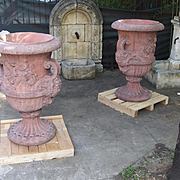 Pair of Large French Terra Cotta Colored Cast Stone Urns
