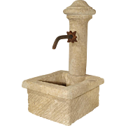 A Small Provence France Carved Limestone Fountain