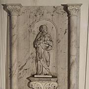 Large Antique Carrera Marble Plaque of A Saint