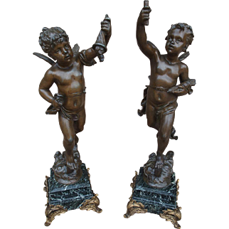 Pair of Antique French Cherub Figures Mounted to Marble Bases