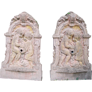 Pair of Flat Cast Stone Wall Fountains from France